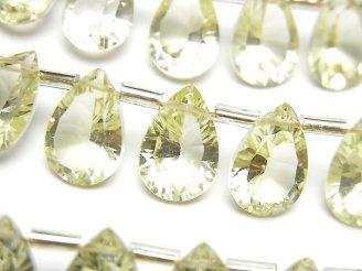 天然石卸 宝石質レモンクォーツAAA ペアシェイプ コンケーブカット12×8mm 半連/1連(10粒)