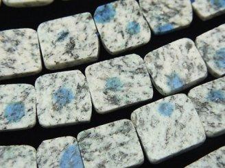 天然石卸 希少石!ヒマラヤ産K2アズライト スライスタンブル 半連/1連(約18cm)