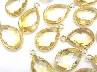 天然石卸 宝石質シトリンAAA 枠留めペアシェイプカット16×11 18KGP 2個1,180円〜!