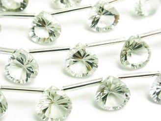 天然石卸 宝石質グリーンアメジストAAA マロン コンケーブカット10×10mm 半連/1連(10粒)