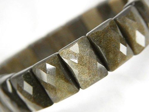 ゴールデンシャインオブシディアンAAA 2つ穴レクタングルカット12×8×6mm 1連(ブレス)