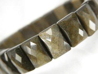 天然石卸 ゴールデンシャインオブシディアンAAA 2つ穴レクタングルカット12×8×6mm 1連(ブレス)