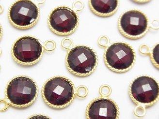 天然石卸 宝石質インド産レッドガーネットAAA 枠留めコインカット 18KGP 3個1,180円!