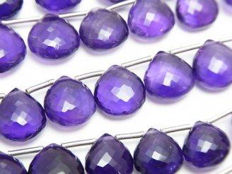 天然石卸 極上カット!宝石質アメジストAAA++ マロン ブリオレットカット 1連(10粒)