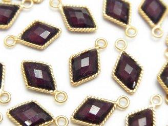 天然石卸 宝石質インド産レッドガーネットAAA 枠留めダイヤカット 18KGP 3個1,380円!