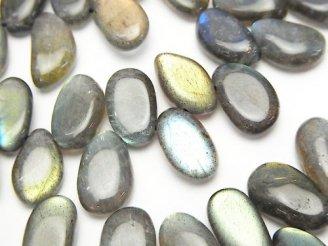天然石卸 高品質ラブラドライトAAA 縦長フラットタンブル クレオ穴 1/4連〜1連(約38cm)