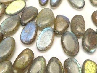 天然石卸 ラブラドライトAAA- 縦長フラットタンブル クレオ穴 1/4連〜1連(約38cm)