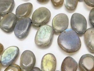 天然石卸 ラブラドライトAA++ 縦長フラットタンブル クレオ穴 半連/1連(約38cm)