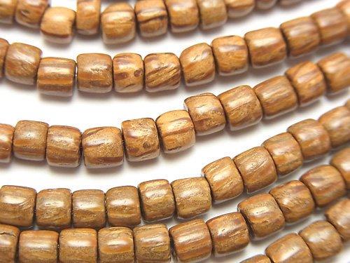 パームウッド(椰子の木) ロンデル(ヘイシ)5×5×4mm 1連(約38cm)