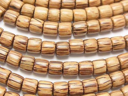 パームウッド(椰子の木) ロンデル(ヘイシ)6×6×6mm 1連(約38cm)