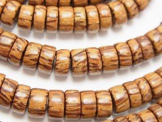 天然石卸 1連380円!パームウッド(椰子の木) ロンデル(ヘイシ)8×8×4mm 1連(約38cm)