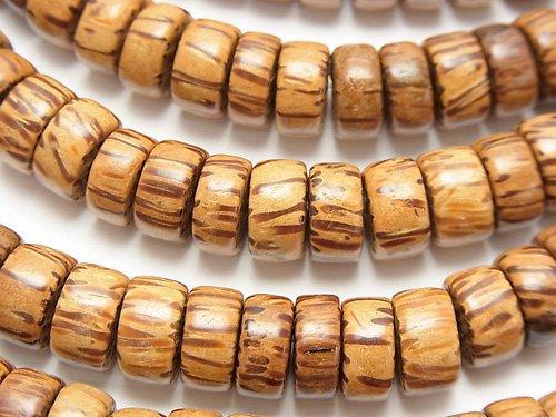 パームウッド(椰子の木) ロンデル(ヘイシ)10×10×5mm 1連(約38cm)