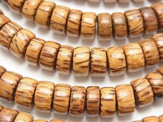天然石卸 1連480円!パームウッド(椰子の木) ロンデル(ヘイシ)10×10×5mm 1連(約38cm)