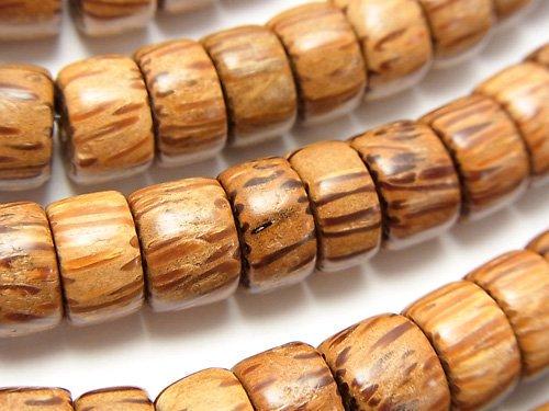 パームウッド(椰子の木) ロンデル(ヘイシ)11×11×7mm 1連(約38cm)