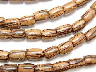 天然石卸 1連380円!パームウッド(椰子の木) チューブ7×5×5mm 1連(約38cm)
