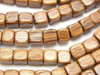 天然石卸 1連380円!パームウッド(椰子の木) キューブ6×6×6mm 1連(約38cm)