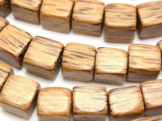 天然石卸 1連480円!パームウッド(椰子の木) キューブ1010×10mm 1連(約38cm)
