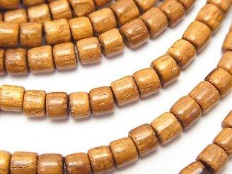 天然石卸 1連380円!バイヨンウッドビーズ ロンデル(チューブ)4×4×3mm 1連(約38cm)