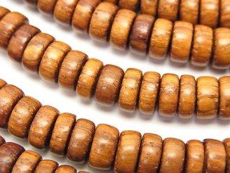 天然石卸 1連580円!バイヨンウッドビーズ ロンデル(チューブ)8×8×3mm 1連(約38cm)