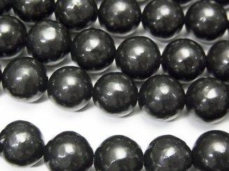 天然石卸 希少石ロシア産シュンガイトAAA ラウンド10mm 半連/1連(約38cm)