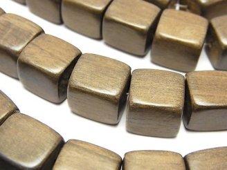 天然石卸 1連580円!グレーウッド キューブ12×12×12mm 1連(約37cm)