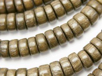 天然石卸 1連480円!グレーウッド ロンデル8×8×4mm 1連(約37cm)