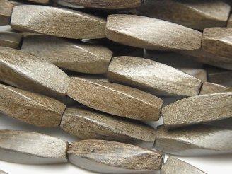 天然石卸 1連380円!グレーウッド 4面ツイストライスカット20×6×6mm 1連(約37cm)