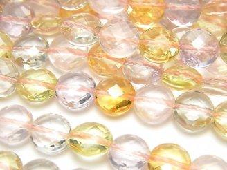 【動画】宝石質いろんな天然石AAA コインカット8×8×5mm 1/4連〜1連(約38cm)