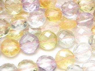 【動画】宝石質いろんな天然石AAA コインカット10×10×6mm 1/4連〜1連(約38cm)