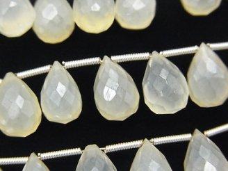 天然石卸 宝石質ホワイトカルセドニーAAA ドロップ ブリオレットカット コーティング 半連/1連(約18cm)