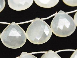 天然石卸 宝石質ホワイトカルセドニーAAA 大粒マロン ブリオレットカット コーティング 半連/1連(約16cm)