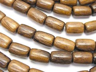 天然石卸 1連280円!ウッドビーズ チューブ10×7×7mm 1連(約38cm)
