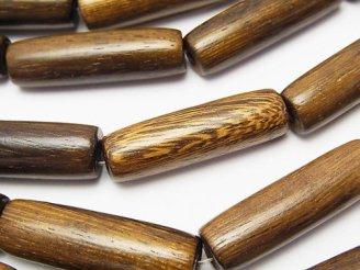 天然石卸 1連480円!ウッドビーズ チューブ32×10×10mm 1連(約38cm)