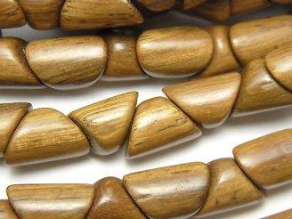 天然石卸 1連480円!ウッドビーズ トライアングルチューブ12×9×8mm 1連(約38cm)