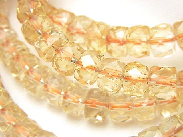 【素晴らしい輝き】宝石質シトリンAA++ ボタンカット8×8×5mm 1連(ブレス)