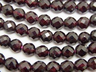 天然石卸 素晴らしい輝き!1連980円!宝石質ガーネットAAA 64面ラウンドカット6mm(〜5mm) 1連(約38cm)