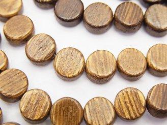 天然石卸 1連380円!ウッドビーズ コイン8×8×4mm 1連(約38cm)