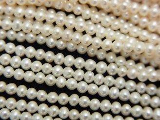 天然石卸 1連2,580円!淡水真珠AAA セミラウンド〜ポテト3mm ホワイト 1連(約38cm)