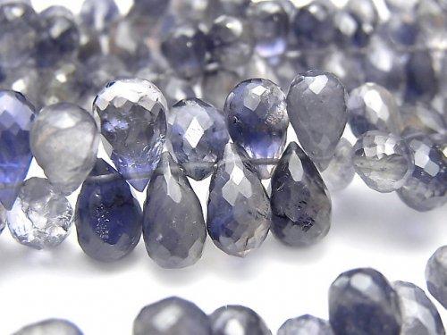 【動画】宝石質アイオライトAAA- ドロップ ブリオレットカット 半連/1連(約18cm)