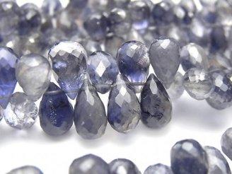 天然石卸 宝石質アイオライトAAA- ドロップ ブリオレットカット 半連/1連(約18cm)