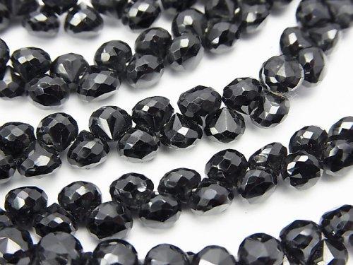 宝石質ブラックスピネルAAA オニオン ブリオレットカット 半連/1連(約18cm)