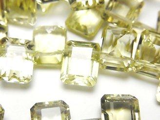 天然石卸 宝石質レモンクォーツAAA レクタングルファセットカット10×8×5mm 1/4連〜1連(約15cm)