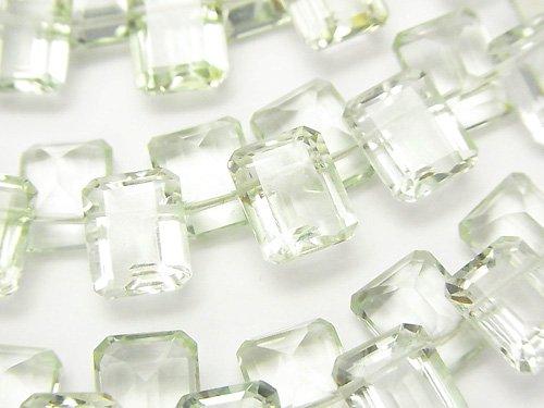 宝石質グリーンアメジストAAA レクタングルファセットカット10×8×5mm 1/4連〜1連(約15cm)
