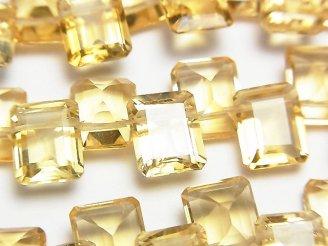 天然石卸 宝石質シトリンAAA レクタングルファセットカット10×8×5 1/4連〜1連(約15cm)