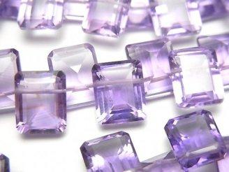 天然石卸 宝石質ピンクアメジストAAA レクタングルファセットカット10×8×5 1/4連〜1連(約15cm)
