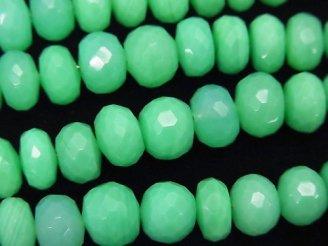 天然石卸 宝石質グリーンカラーカルセドニーAAA ボタンカット サイズグラデーション 半連/1連(約18cm)