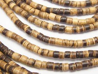天然石卸 1連180円!ココナッツ 3.5×3.5×3mm ベージュ×ブラウン 1連(約55cm)