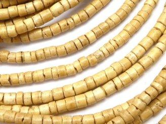 天然石卸 1連180円!ココナッツ チューブ3×3×2mm ナチュラルカラー 1連(約56cm)