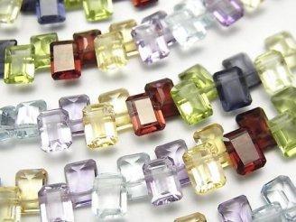 天然石卸 宝石質いろんな天然石AAA レクタングルファセットカット7×5mm  半連/1連(約16cm)