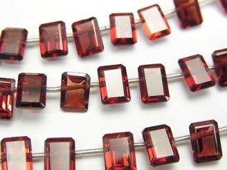 天然石卸 宝石質モザンビーク産ガーネットAAA レクタングルファセットカット7×5×3mm 半連/1連(約16cm)